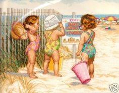 beaches, craft, crossstitch, beach babies, stitch kit, at the beach, crosses, count cross, cross stitches