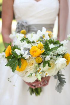 pretty yellow + gray bouquet