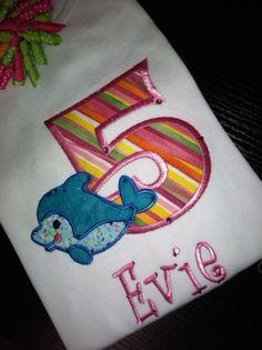 Custom Applique Dolphin Birthday Shirt for a Dolphin Themed Birthday Party
