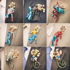 Action Figure Boutonnieres from Rock N Roll Bride- Ben would love the Captain America one... The real question is, would I actually let him wear it? @Carolyn Rafaelian Widmann