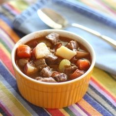 Hearty Mexican Beef and Vegetable Stew with tender chunks of beef, potatoes and vegetables simmered in a spicy beef broth.
