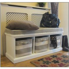 WHITE BENCH HALLWAY SHOE STORAGE and Seat, STRIPE Baskets. So this is sort of what it will look like.