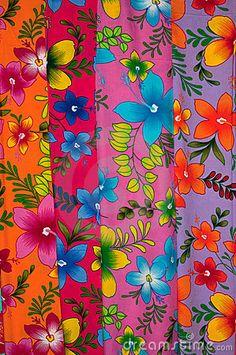 Assortment of traditional colorful hibiscus drawing Sarong Batik fabric