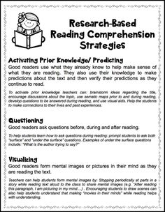 Research-based Reading Comprehension Strategies.  Free handout! parent, back to school