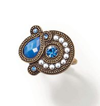 Tribal Style Ring-Burnished Brass Ring with faux pearls and acrylic stones. Regularly $9.99, buy Avon cosmetics online at http://eseagren.avonrepresentative.com