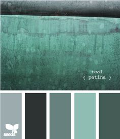 teal patina...pallette for the house walls and trim. maybe add some crisp white accent trim?