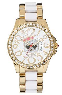 Betsey Johnson Skull Dial Two Tone Bracelet Watch, 40mm | Nordstrom