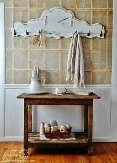 Rustic Table, Antique Footboard into Coat Rack via Knick of Time @ knickoftimeinteriors.blogspot.com