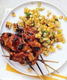 Honey Chicken Skewers w/Grilled-Corn Salad.
