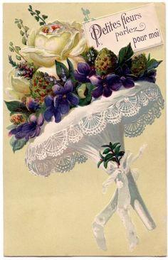 paper roses, flower bouquets, violet, graphics fairy, fairi, postcard, cards, little flowers, vintage flowers