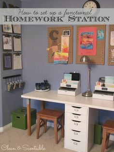 Great ideas to help you create a kids' homework station!  #organizedkids #schoolrooms