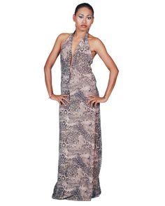 Eva Putu Chocolate Leopard Print Long Dress #EvaPutu #dresses #wholesale #shoptoko