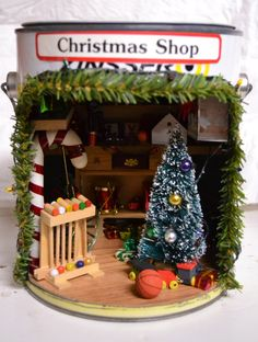 ON SALE Miniature Christmas Workshop/Store in a by awedbysplendor, $80.00