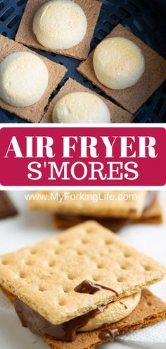 You won't need a campfire to make these s'mores, all you need is an Air Fryer. Delicious roasted marshmallows roasted right in the Air Fryer in less than 10 minutes. It's the perfect easy dessert. #smallbatchdessert #airfryer #airfryerrecipes #airfryerrecipesfordessert #dessertrecipes #dessertfortwo