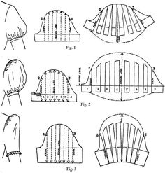 useful illustration of drafting sleeves - note higher shoulder placement on these for different style dress.