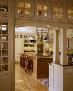 craftsman style columns   craftsman style kitchen, glass display cabinets, kitchen entrance ...