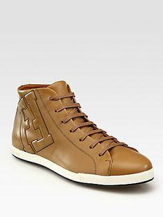 Fendi Leather Lace-Up Sneakers