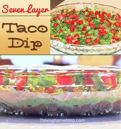 healthy 7 layer dip, 7 layer taco dip, healthy taco dip, drink, delici, snack, healthi appet, dips, dip recipes