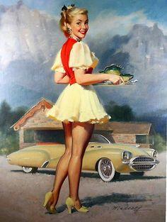 Linda camarera | Bill Medcalf. Pin-Up girls | American ladies #Pin-Ups #Vintage #Posters #deFharo #USA #Girls #Retro