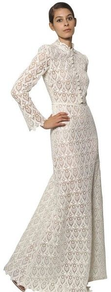 Cotton Macramé Long Dress - Lyst