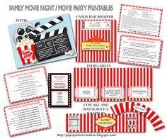 Movie Party printables.