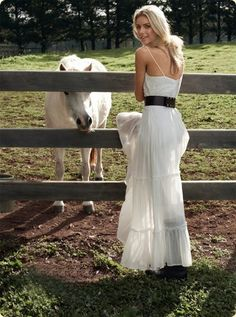 leather belt added to simple white dress