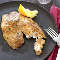 Yummy. Rachel Ray Tilapia - 1 cup grated parmasean, 2 tsp paprika, 1 tsp lemon pepper / garlic salt, 1 Tbs parsley, dash red pepper flakes Coat fish with olive oil and cover in cheese mixture, bake at 400 for 10-12 minutes until fish is white in middle