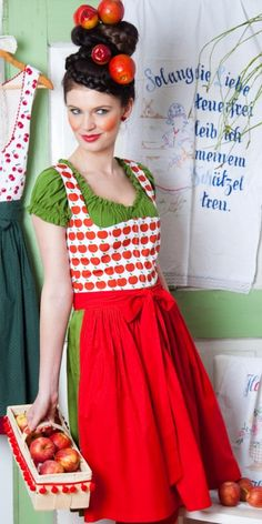 What a whimsically fantastic apple themed dirndl outfit. #dirndl #dress #German #folk #costume #apple
