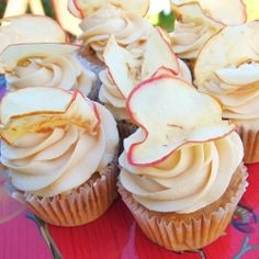 Moist Apple Cupcakes -Super moist cupcakes filled with apples and warm spices. Topped with a decadent Caramel buttercream, these cupcakes are incredible!