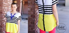$18.99 Color Block Button Back Tunic | Sassy Steals