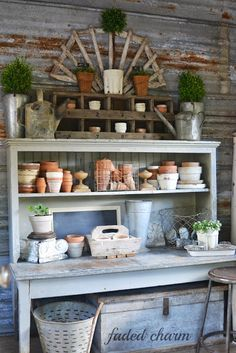 galvanized wall with potting bench
