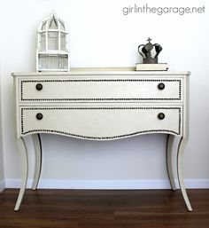 Annie Sloan Chalk Paint vanity makeover in Old Ochre with nailhead trim and a review of the Annie Sloan wax brush.  girlinthegarage.net @jen {Girl in the Garage} vaniti makeov, chalk paint, paint vaniti, painting old trim