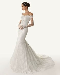Off the shoulder lace sleeve wedding dress. So timeless!