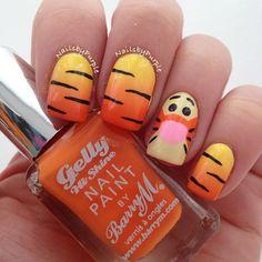 Tigger Inspired Nails
