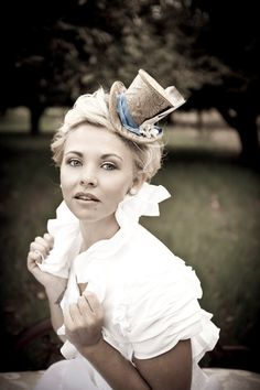Victorian Mini Top Hat. $130. http://www.etsy.com/listing/86738284/victorian-mini-top-hat-ivory-stripes