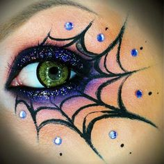 For Halloween this year I'm planning on being a spider, this makeup, black dress, black or spiderweb nylons, homemade legs, black long gloves, and spider webs hanging from hair! Anyone know of any place to get cheap black shoes, heels acceptable but not to tall!!#Halloween #spider #web #makeup