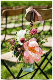 mason jar + peony + ribbon chair accents