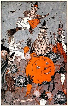 Wonderful old illustration from a childrens book.  Actual image size 5.18 width x 8 height  We are now showcasing our rare and fabtastic Halloween goodies. I have collected Halloween for 2 decades, mostly paper illustrations, and am finally sharing these spectacular illustrations for those who want