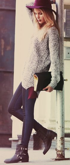 long sweater, tights, boots- fall style
