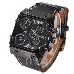 OULM Military Sports Watch Multiple Time Zones Leather Strap Quartz watch