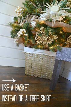 Sunburst Mirror Tree at Tatertots and Jello. Use a basket instead of a tree skirt! #DIY #Christmas