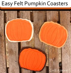 Easy Felt Pumpkin Coasters from @ajaire | Find felt and sewing supplies at joann.com