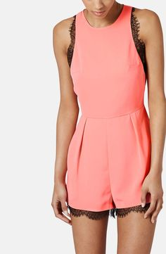 Coral romper with lace detail - such a pretty silhouette.