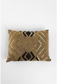 Beaded pillow ~ gold  black