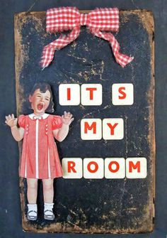 Vinage French door sign for a girl's room