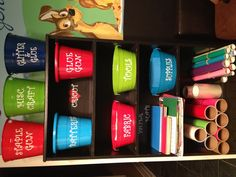 Craft organization from dollar tree contains  personalized with vinyl! Affordable and efficient!