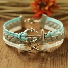 Anchor Bracelet - infinity bracelet  with anchor charm, Fabulous Christmas gift, mint anchor bracelet for girlfriend and BFF. $7.99, via Etsy.