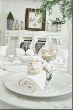 Mantle and table Christmas decor