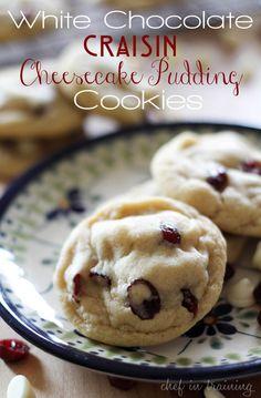 White chocolate craisin cheesecake pudding cookies. (from original source)