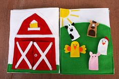 Farming! - Finger Puppets -   Quiet Book pages 2 & 3  Sunshine, Lollipops, and Rainbows: